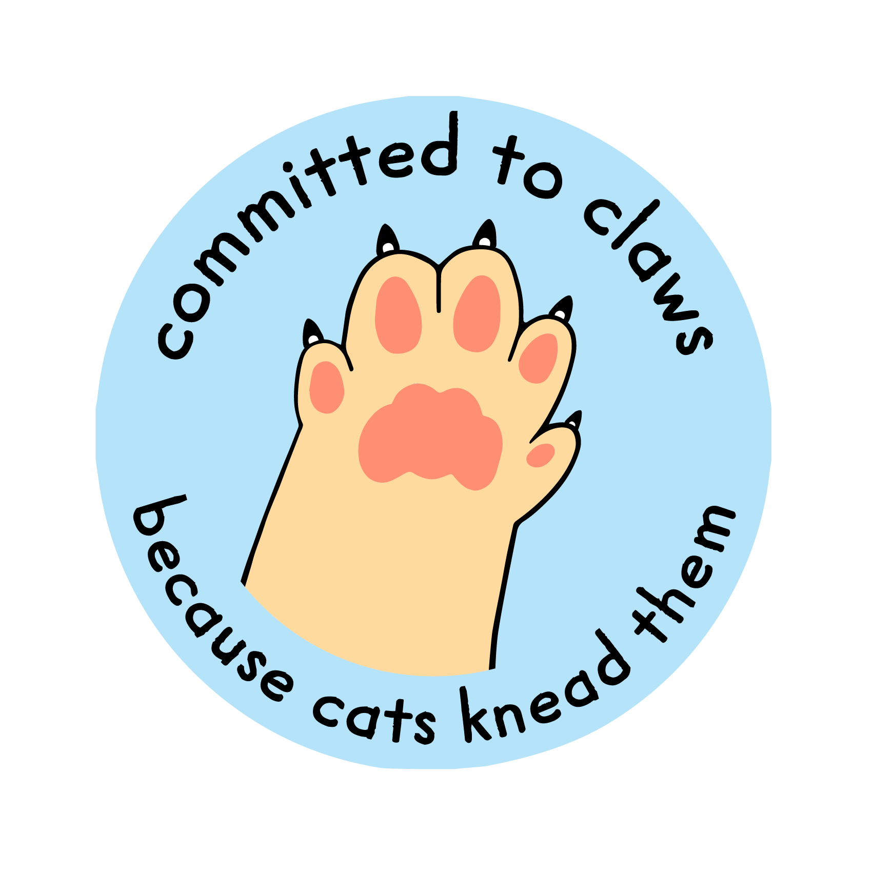 "CTC logo, an orange cat paw with claws is ready for a high five! Text on the image states ""committed to claws"" and ""because cats knead them"""