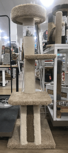 Tall cat tree with carpet, sisal, and cardboard.