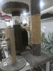 Several different types of scratching post including woven and wound sisal.