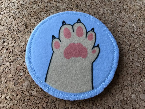The back of the cat toy with logo and no text