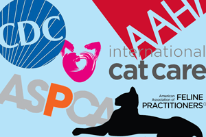 Collage of logos: AAHA, ASPCA, AAFP, CDC, and International Cat Care.